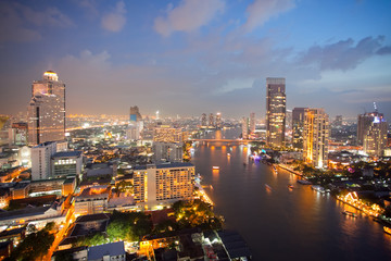 Aerial view of Bangkok Skyline