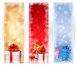 Christmas banners with gift box and snowflakes