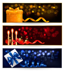 Set of winter christmas banners with gift boxes