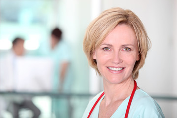 Female nurse in corridor