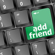 Keyboard with green add as friend button, social network concept