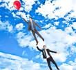 Businessmen flying in the sky