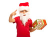 Small Santa Claus boy indicate