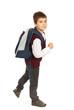 Walking school boy in a hurry