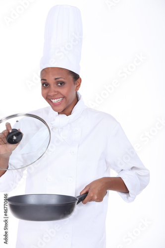 black woman cooking