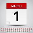 Calendar on white paper note. Illustration