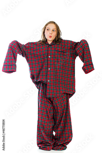 kid wearing huge over sized pajamas