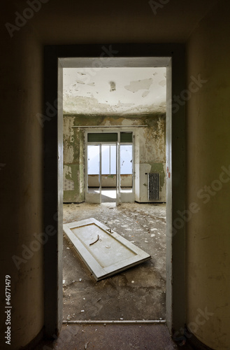 abandoned building, room view from the door