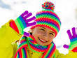 Winter fun , snow, cute kid enjoying winter