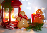 Christmas Decorations with Gingerbread man, lamp with candle and