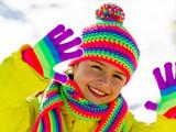 Winter fun , snow, cute kid enjoying winter