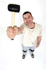 Workman with a mallet