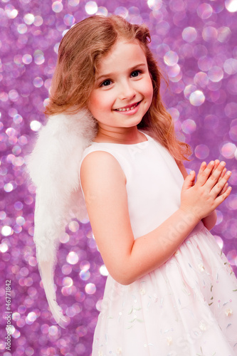 Christmas, Angel - lovely girl celebrating Christmas