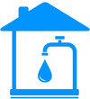 sign with drop of water and faucet in house