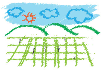 field and blue sky drawing