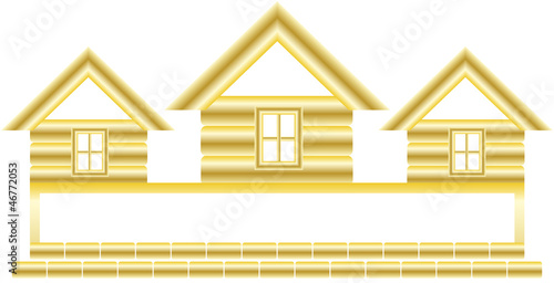 symbol with gold cottage and space for text