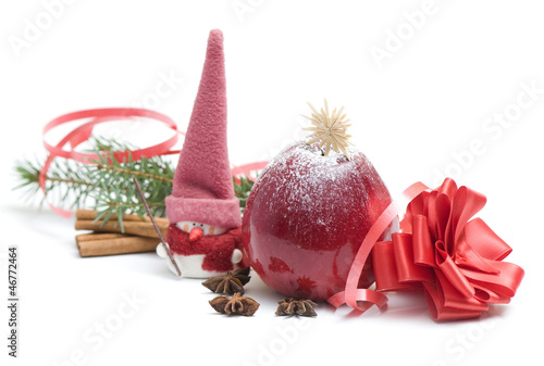 Christmas background with snowman,spices and apple