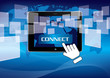 hand pushing connect social network
