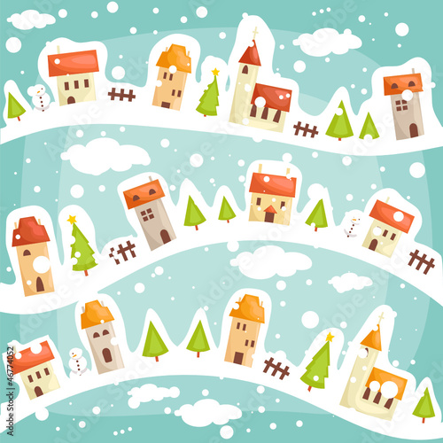 Winter  village background, vector illustration