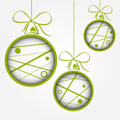 white green dotted scribbled christmas balls