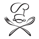 monochrome chef with spoon and fork