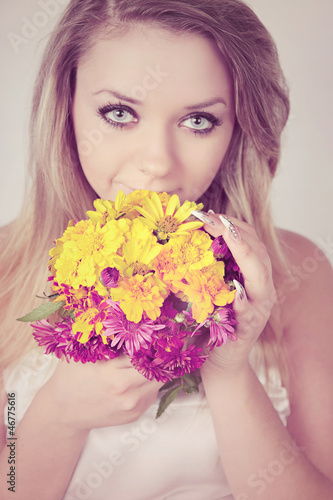 smelling a bouquet
