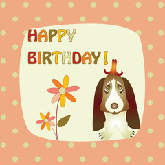 greeting card with a basset hound