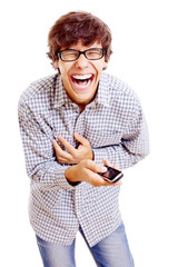 Guy with phone shrieking with laughter