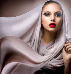 Beautiful Young Woman in Chiffon Scarf
