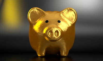 Golden Piggy Bank 3D Render