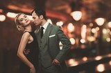 Fototapety Retro couple over blurred background