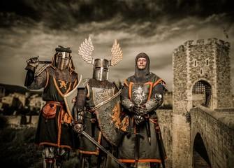 Three knight in armor