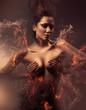 Leinwanddruck Bild - burning erotic sexy beautiful woman in dirty mist
