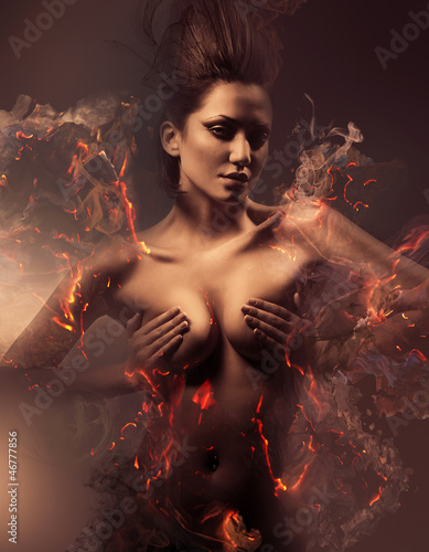 burning erotic sexy beautiful woman in dirty mist - 46777856