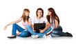 three students and laptop