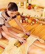 Woman getting feet massage