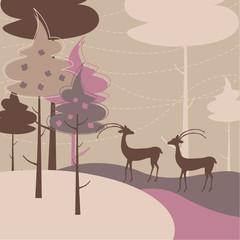 Two deers - vector background