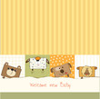 baby shower card with funny cube animals
