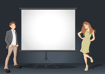 Cartoon business couple and white billboard with empty space