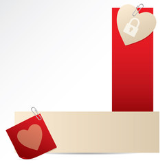 Banners with notepaper and heart