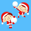 Snowball fight to play boys and girls. Winter Season Character D