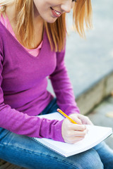 Female student writing