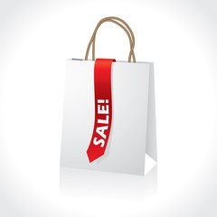 Shopping white paperbag with red ribbon