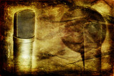 grunge music background with conderser microphones