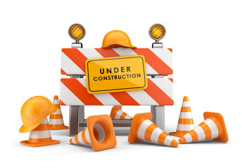 Under construction concept. 3D barrier isolated on white