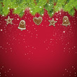 Christmas red background with gingerbread decorations