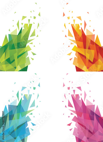 Set of abstract colorful triangles.