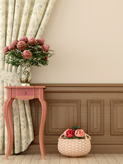 Pink table with flowers