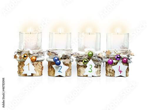 Fourth Advent Candle on white background