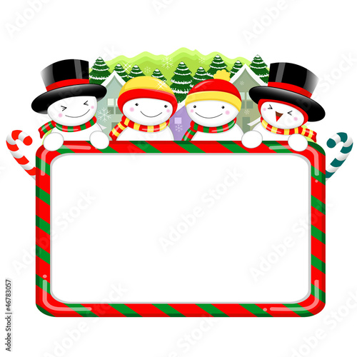 Snowman Mascot using a variety of banner designs. Christmas Char